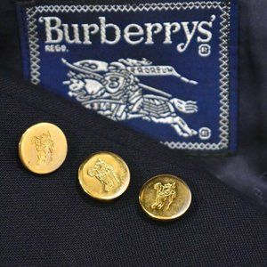 40R Burberry GOLD BUTTON Navy Blue blazer coat